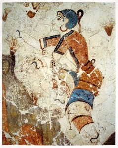 Botanical evidence suggests saffron originated in Greece, where the earliest related species appear in this Minoan fresco of saffron gatherers that dates from 1500 BC.[Photo provided to China Daily]