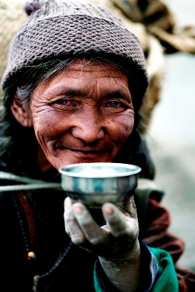 Tibetan Drinking Yak-Butter Tea
