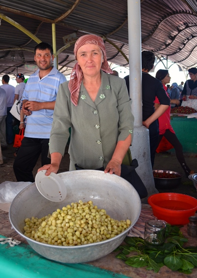 Woman Selling White Mulberries at the Chorsu Bazar