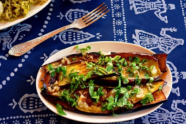 Eggplant with Garlic, Walnuts and Herbs