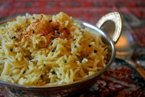 India - Spiced Saffron Rice Closeup LMK-small