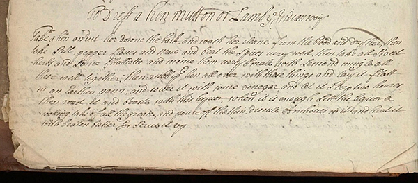 Recipe for Vindaloo Roast in Wellcome MS 4050